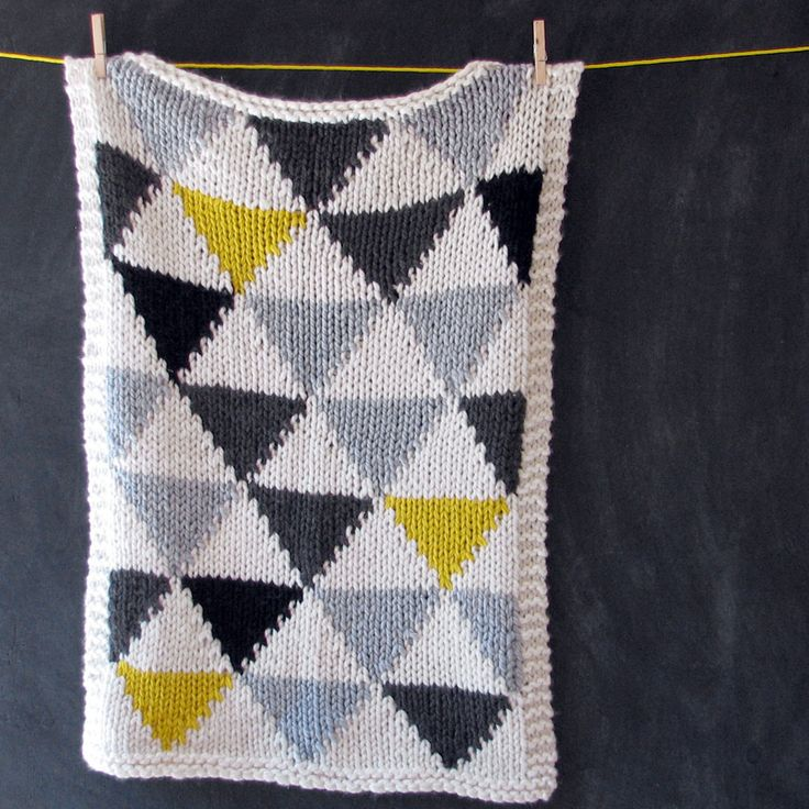 Knitted Triangle Pattern Baby Blanket in Grey/Black/Neon Yellow for Bassinet, Stroller, or Car Seat. $85.00, via Etsy.