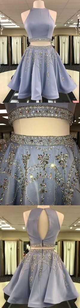 Cute blue two pieces short prom dress, homecoming dress,BD2410  #seoydress #promdress #prom #shopping #fashion #dresses #eveningdress