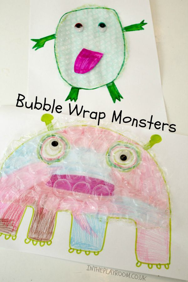 Bubble wrap monsters easy craft for kids. Good for Halloween or any time of year for a monster theme