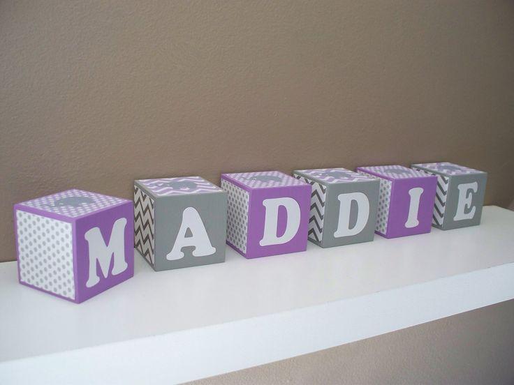 Elephant Nursery Decor - Name block - Light Lavender Purple ...