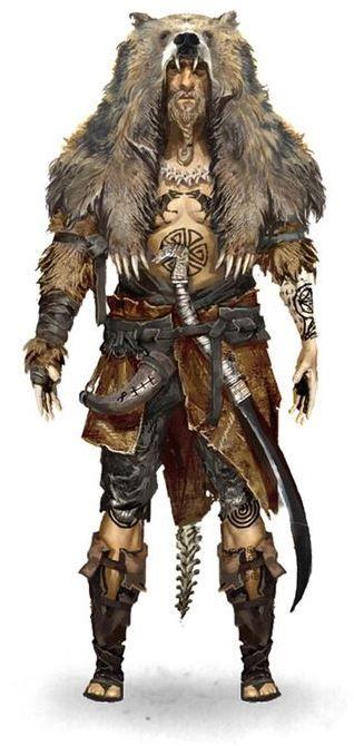 character concept druid shaman human male wield sabre horn cloth fur leather Jürgen Bearvigor, Beast Warrior.