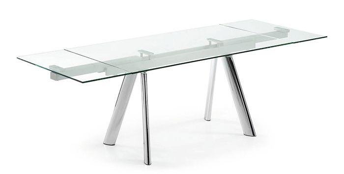 Table extensible DIS - 2 allonges intégrées - Plateau Verre trempé et Pietement Acier Chromé