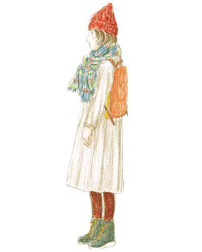 グレージュのワンピースにストールと赤いニット帽を合わせた小人風コーデ。軽快なリュックでオシャレ度もグンと上がります。
