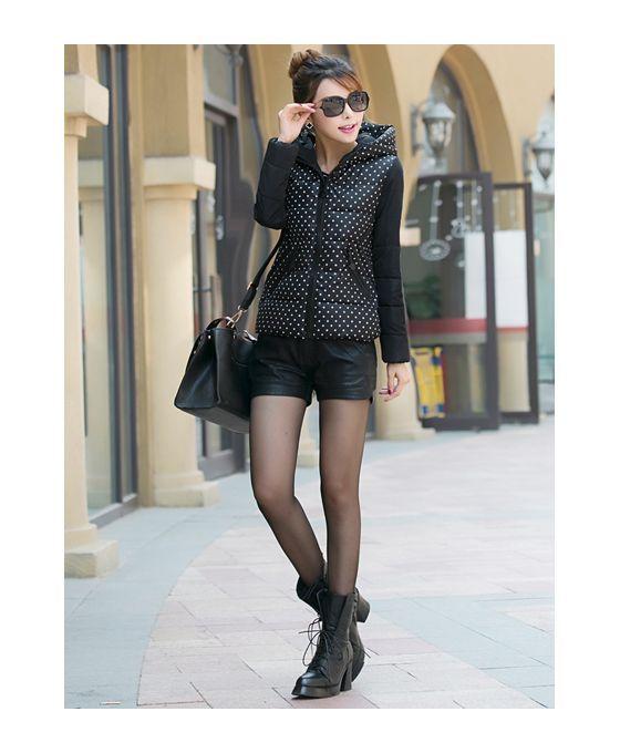Black Eiderdown cotton Polyester Turndown collar Fluffy Coat