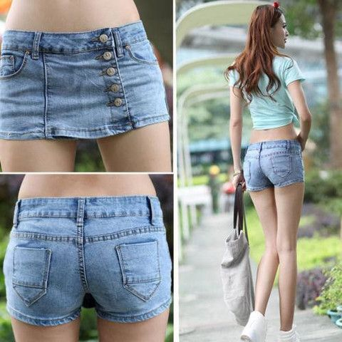 Slim Blue Denim Fabric Jeans Shorts Hot Pants Skirts – teeteecee - fashion in style