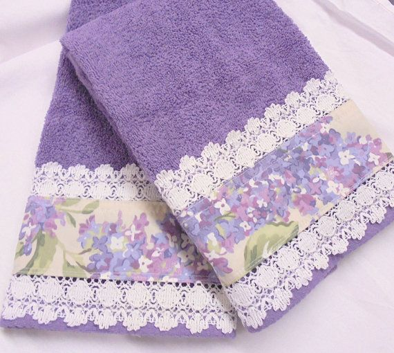 Ralph Lauren Fabric LILAC  2 WHITE Hand Towels  with by Sew1Pretty