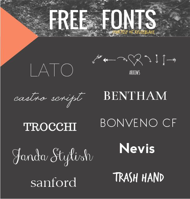 Free Fonts...love the skinny ones and hearts and arrows