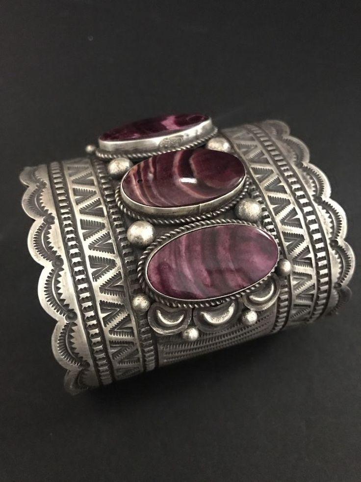 Rare Native American Sterling Silver Purple Spiney Oyster Bracelet BJ  | eBay