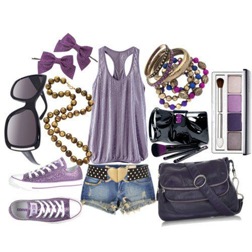Purple Outfit Idea with Flat Shoes