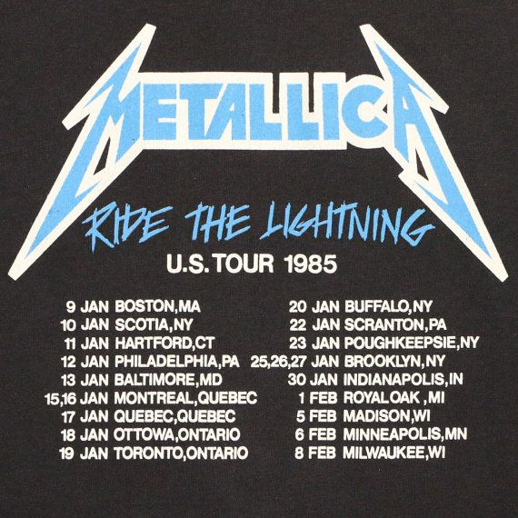 Metallica Ride The Lightning Tour Shirt 1985 by WyCoVintage