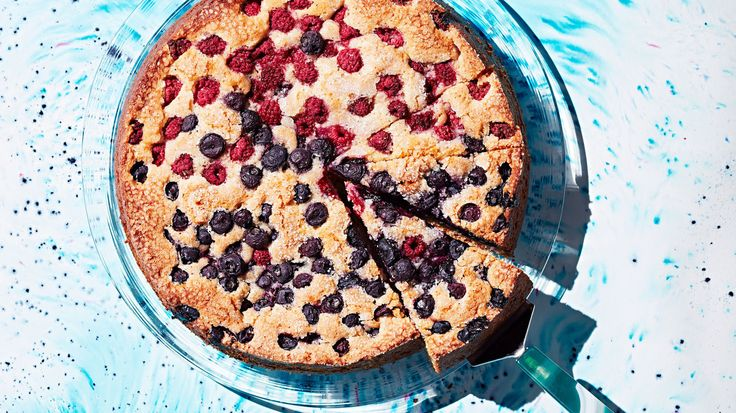 The fruit on top of this cake is finished with a generous sprinkle of coarse sugar -- so when it's baked it's like a big, crunchy muffin top.