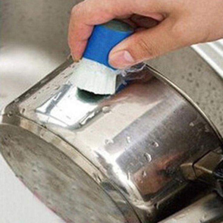 Nueva Magia de Óxido de Metal de Acero Inoxidable Cepillo Remover Limpieza Palo de Cepillo de Lavar Detergente (Color Al Azar) Envío de La Gota