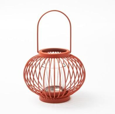This colourful round lantern candle holder would look great on any patio table.