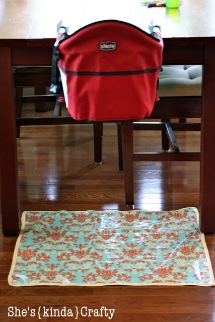 Great idea for a mat under the high chair for easier clean up after the child has ate!!