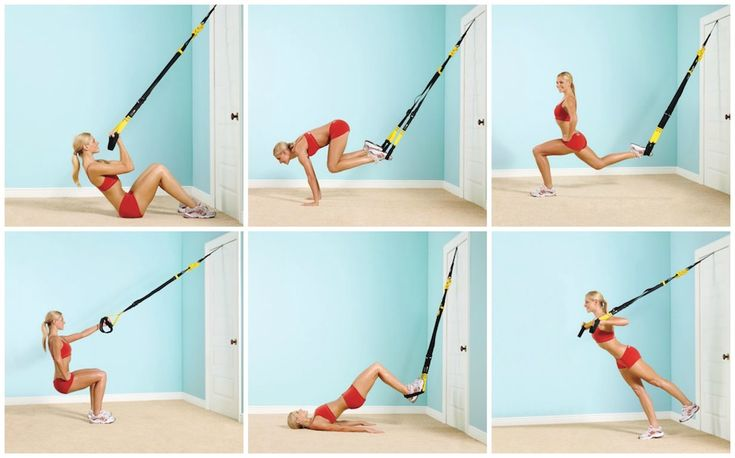 Do you workout at a gym that has TRX cables? Or have your own at home? Here are 6 great strength building moves to try with them. #fitness #exercise