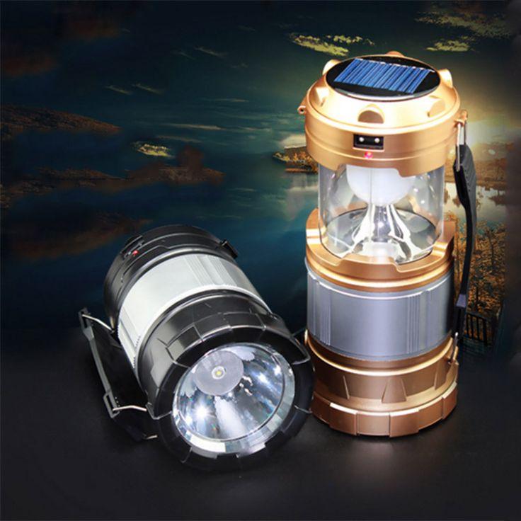 Mise à niveau Version lanterne conduit extérieur 2 en 1 Portable Solar Power antichoc jardin lumière pour randonnée Camping ouragan panne