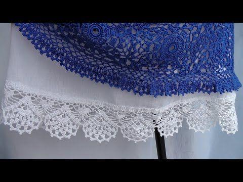 Обвязка кружевной каймой юбки из ткани. КАЙМА крючком. Схема вязания. - YouTube