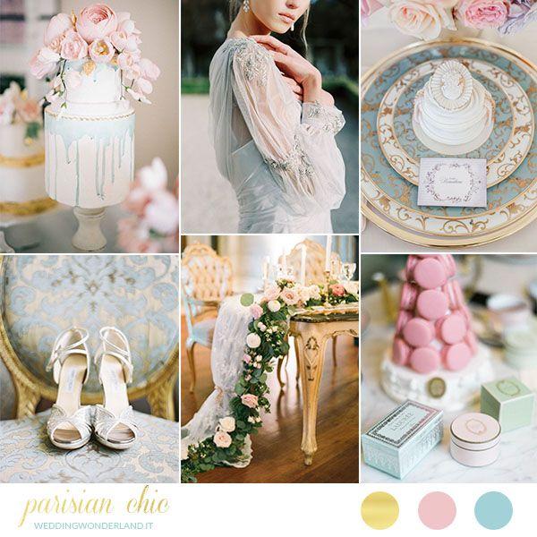 Azzurro, rosa e oro per un matrimonio parigino