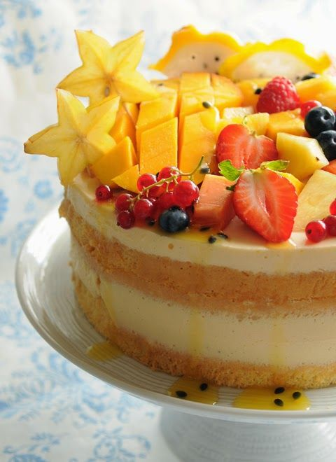 Vanilla and Tropical Fruit Cake | Bolo de Baunilha e Frutos Tropicais