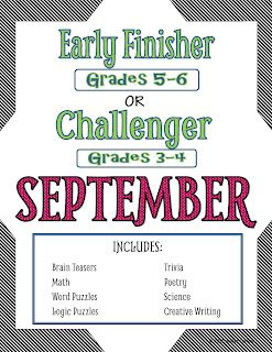I'm Done, Now What? Early Finisher and Challenge Printable Activities for Grades 3-6