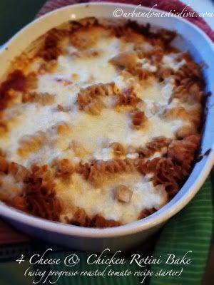 4 Cheese & Rotini Bake using Progresso Fire Roasted Tomato Recipe Starters Cooking Sauce, The Urban Domestic Diva, Progresso Recipe Starters Cooking Sauce