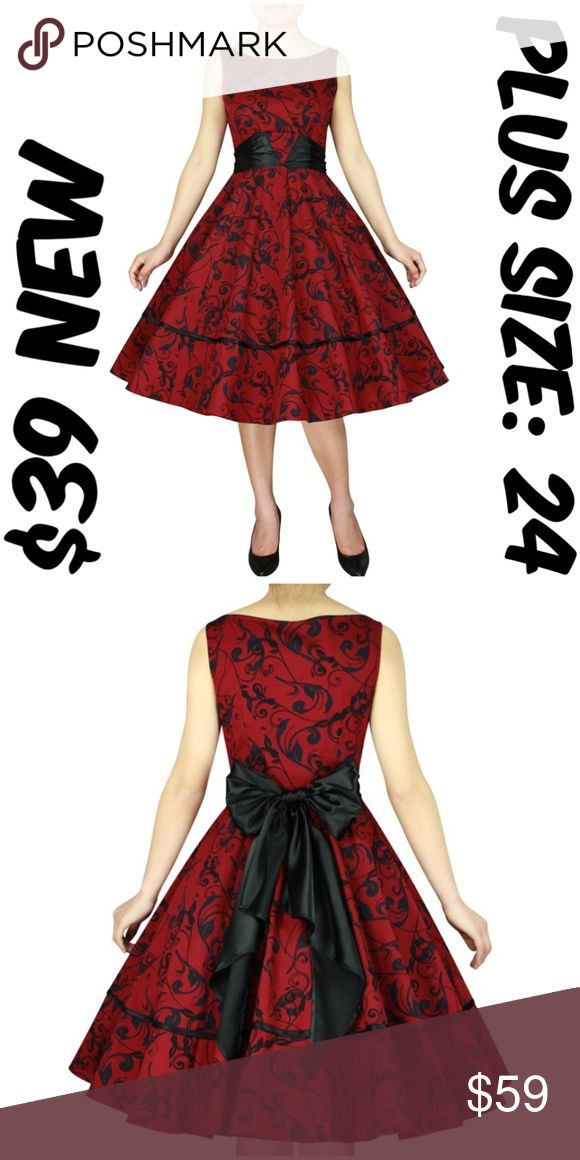 """Pin Up Plus Size Dress Vintage 1950s Clothing Girl Pin Up Plus Size Dress Vintage 1950s Clothing Girl BUST: 52"""" WAIST: 44"""" LENGTH: 43"""" CONDTION: NEW WITHOUT TAGS MATERIAL: 97% COTTON 3% SPANDEX TAG SIZE IS 24 #C6 Dresses"""
