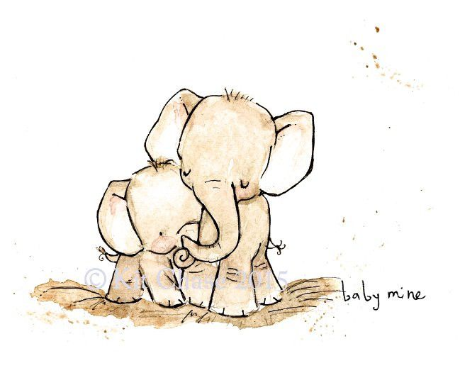 A simply sweet moment. Cuddle up little elephant. - art print from an original watercolor, gouache, and acrylic painting by Kit Chase. - archival matte paper and ink - horizontal print - ships worldwi