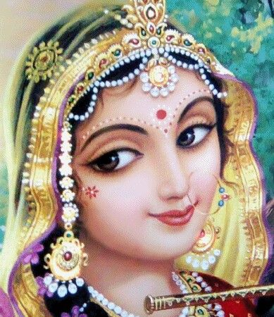Refrain: I am ever engaged in repeating the sweet name of Radha.  1) Radha is there in the blinking of my eyes.