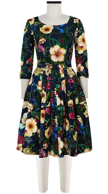1b5f82c6 Rachel Dress Boat Neck 3/4 Sleeve Cotton Stretch (Florentine Flowers) -  0_XXS / White in 2019 | Dresses | Dresses, Sleeves, Boat neck
