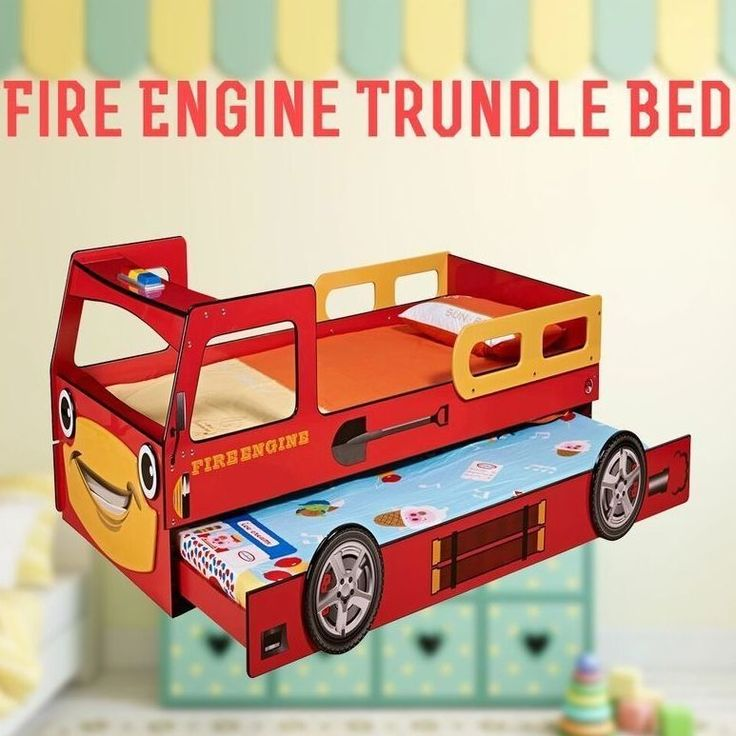Kids Single MDF Fire Truck Bed Frame w Trundle Red | Buy Baby & Kids