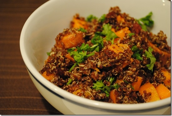 Red quinoa with butternut squash, yams, and dried cranberries