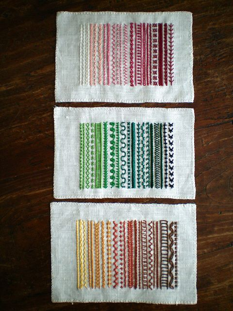 sampler stitching - This would be great in one rainbow stretch of columns, mounted as a table lamp shade