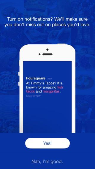 custom notification permissions page - Foursquare