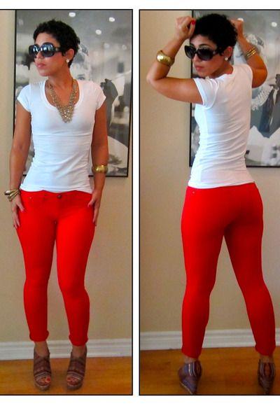 Red-express-leggings-white-forever-21-t-shirt-steve-madden-wedges_400Fashion Sen, Wear Red, Outfit Ideas, Mimi Bella, Fashion Style, Diy Style, Fashion Forward, Fashion Guru, Red Jeggings