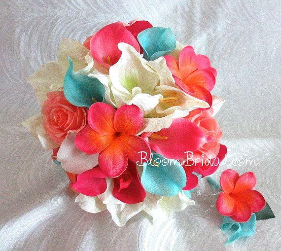 Real touch Orchids, Amaryllis, Calla Lilies, Roses, Plumerias Bouquet in Cream, Aqua Blue, Coral & Fuchsia