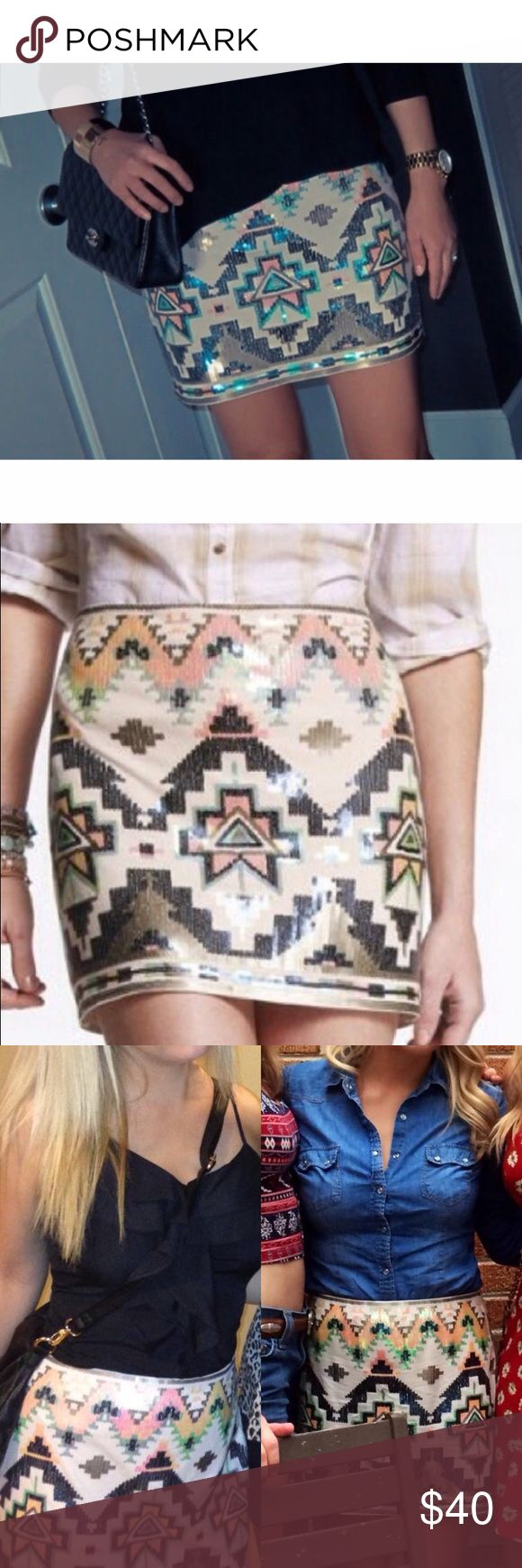 Sequins Mini Skirt Such a cute tribal mini skirt that can be styled in so many different ways! Express Skirts Mini