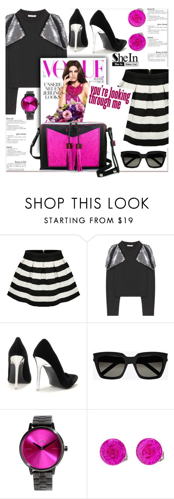 """#sheinside"" by sweta-gupta ❤ liked on Polyvore featuring moda, Christopher Kane, Yves Saint Laurent, Nixon, Chanel y Carianne Moore"