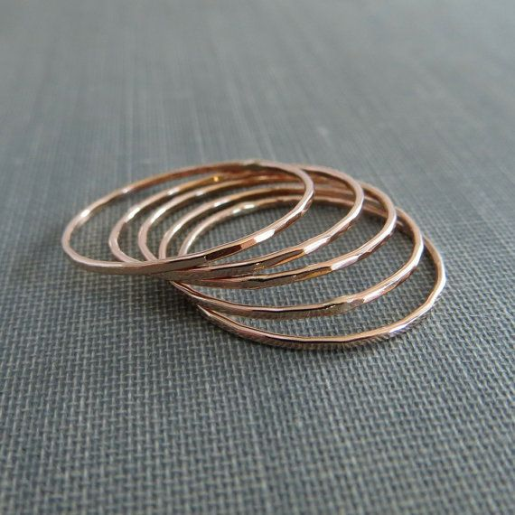 Thin Rose Gold Stackable Rings - Set of 5 Rings - Super Slim - 14K Rose Gold Filled - Simple Modern Minimal Rings