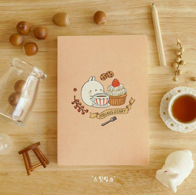 Molang Diary Sweet Pink Scheduler Planner Journal Agenda Notebook Cute Organizer #CupidGiftShopKoreanCuteKawaiiStationery