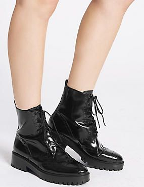 Leather Lace Up Brogues Boot