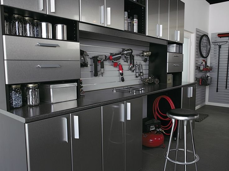 Contemporary Garage with High ceiling, French doors, Concrete floors, Paint, Built-in bookshelf