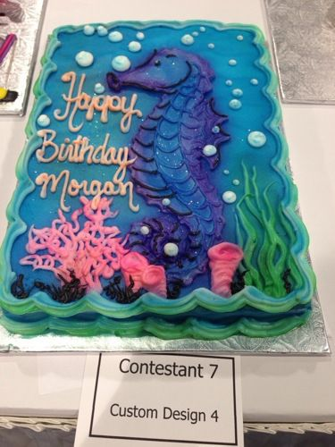Under the Sea, little mermaid, seahorse Fondant Cake, birthday, wedding, party.