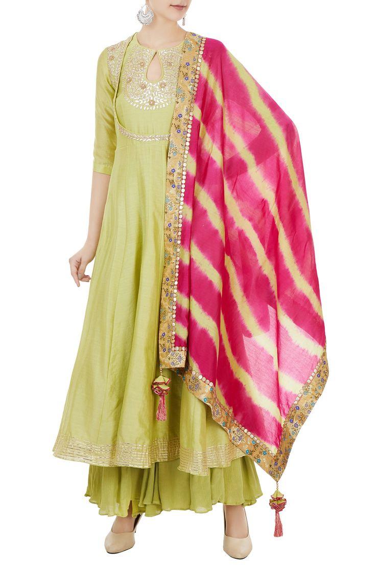 Shop Chandni Rai - Green chanderi gota embroidered kurta & leheriya dupatta Latest Collection Available at Aza Fashions