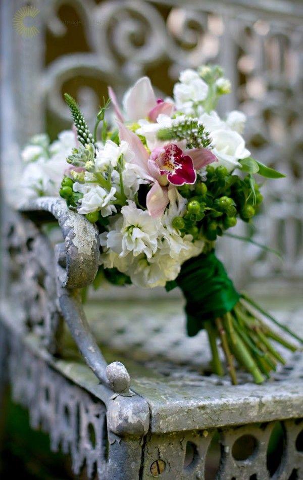 White parrot tulip wedding bouquet.