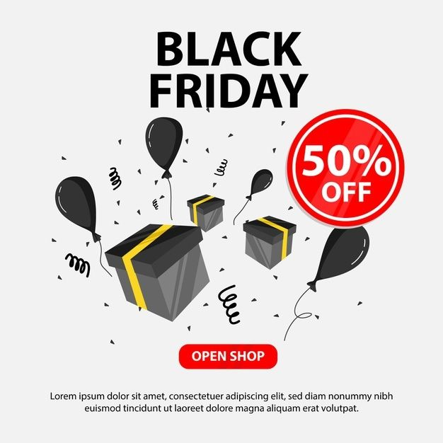 Black Friday Banner With Gift Illustration And Balloons Perfect For Online Shop Business Black Friday Banner Banner Gifts