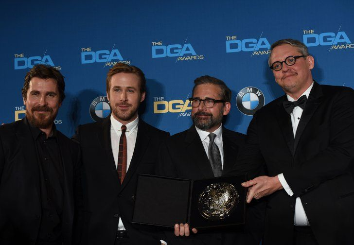 Pin for Later: Ryan Gosling Gears Up For the Oscars at the Directors Guild Awards  Pictured: Steve Carell, Ryan Gosling, Christian Bale, and Adam McKay