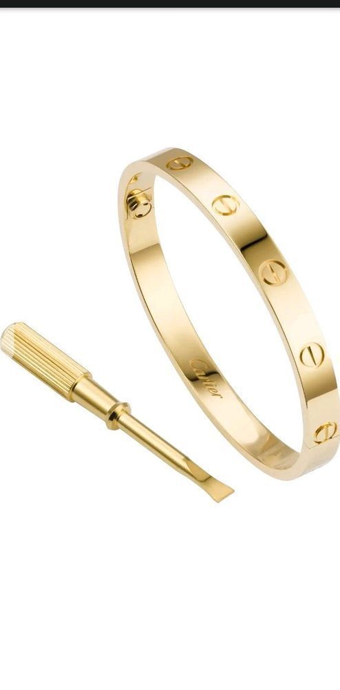 Authentic Cartier Love Bangle Bracelet In 18kt Yellow Gold Size 18 W 4diamonds