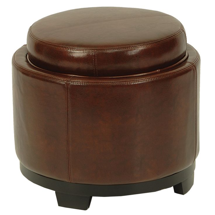 brown cordovan ottoman with storage tray leather round storage ottoman