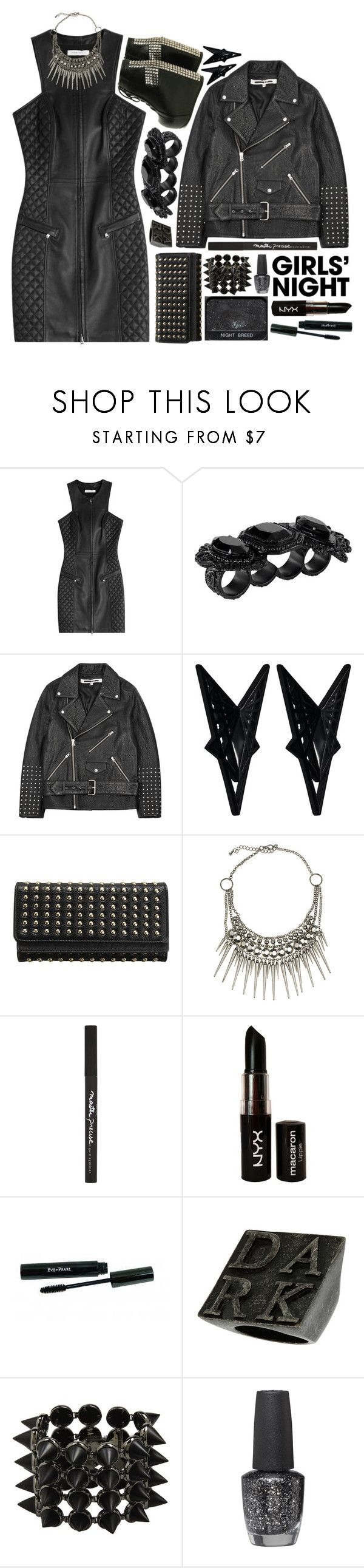"""""""1482"""" by anastaziah2014 ❤ liked on Polyvore featuring Pierre Balmain, Dsquared2, McQ by Alexander McQueen, Eddie Borgo, NARS Cosmetics, Club Manhattan, Maybelline, NYX, OPI and girlsnight"""