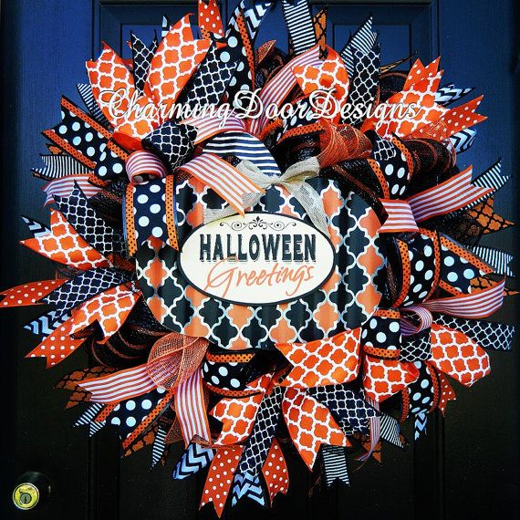 READY TO SHIP Deluxe Halloween Mesh Wreath by CharmingDoorDesigns